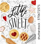 poster with illustrated cookie  ... | Shutterstock .eps vector #570672571