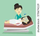 cosmetologist applying facial... | Shutterstock .eps vector #570674119