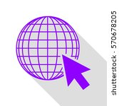 earth globe with cursor. violet ... | Shutterstock .eps vector #570678205