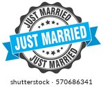 just married. stamp. sticker.... | Shutterstock .eps vector #570686341