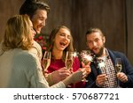 group of happy people with... | Shutterstock . vector #570687721