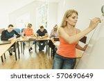teaching concept. female... | Shutterstock . vector #570690649
