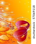 mulled wine and mince pies | Shutterstock . vector #57069118
