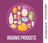 organic products banner with... | Shutterstock .eps vector #570702289