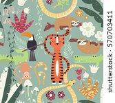 seamless pattern with cute rain ... | Shutterstock .eps vector #570703411