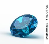 3d Blue Diamond Isolated On...