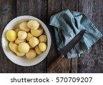 Raw Peeled And Sliced Potatoes...
