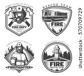 vintage firefighting emblems... | Shutterstock .eps vector #570709729