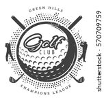 vintage golf logotype with... | Shutterstock .eps vector #570709759
