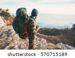 man traveler with backpack... | Shutterstock . vector #570715189