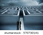 business people looking at maze ... | Shutterstock . vector #570730141