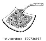 doodle noodle at plate and fork.... | Shutterstock .eps vector #570736987