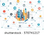 smart city and wireless... | Shutterstock .eps vector #570741217