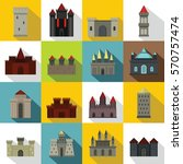 towers and castles icons set.... | Shutterstock .eps vector #570757474