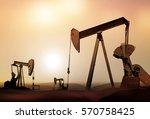 retro oil pumps in deserted...