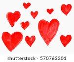 set of red watercolor hearts of ... | Shutterstock . vector #570763201