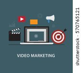video marketing. laptop with... | Shutterstock .eps vector #570765121