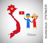 vietnam map flag and... | Shutterstock .eps vector #570786535
