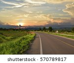 Asphalt Road With Sunset Natur...