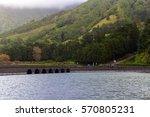 bridge on lake sete cidades ... | Shutterstock . vector #570805231