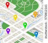 detailed city map in isometric... | Shutterstock . vector #570812161