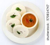 idli  sambar and coconut... | Shutterstock . vector #570814747