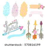 vector feathers  labels  arrows ... | Shutterstock .eps vector #570816199