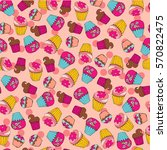 seamless pattern with funny... | Shutterstock .eps vector #570822475