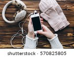 female holding smartphone and... | Shutterstock . vector #570825805
