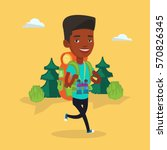 african backpacker with... | Shutterstock .eps vector #570826345
