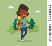 african american backpacker... | Shutterstock .eps vector #570826621