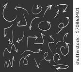 white hand drawn arrow set ... | Shutterstock .eps vector #570863401