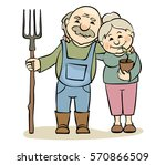 a pair of older gardeners  ... | Shutterstock .eps vector #570866509
