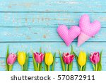 Two Pink Hearts With Decorativ...