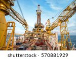 offshore oil rig drilling... | Shutterstock . vector #570881929