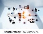 remote data exchange . mixed... | Shutterstock . vector #570890971