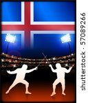 iceland flag with fencing on... | Shutterstock .eps vector #57089266
