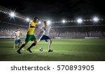 hot moments of soccer match .... | Shutterstock . vector #570893905