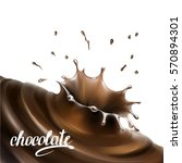 liquid chocolate  caramel or... | Shutterstock .eps vector #570894301