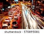 night traffic jam with bokeh...   Shutterstock . vector #570895081