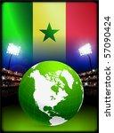 senegal flag with globe on... | Shutterstock .eps vector #57090424