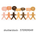 cut out paper people in... | Shutterstock .eps vector #570909049