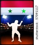 syria flag with fencing on... | Shutterstock .eps vector #57091117