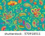 hand drawn flower seamless... | Shutterstock . vector #570918511