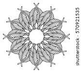 zentangle feather mandala  page ... | Shutterstock .eps vector #570921535