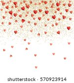 hearts and confetti falling on... | Shutterstock .eps vector #570923914