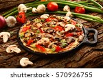 omelette with mushrooms and... | Shutterstock . vector #570926755