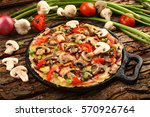 mushroom spinach  omelette with ... | Shutterstock . vector #570926764