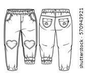 tech sketch of pants for... | Shutterstock .eps vector #570943921