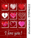 valentine's day   card with the ... | Shutterstock .eps vector #570946111